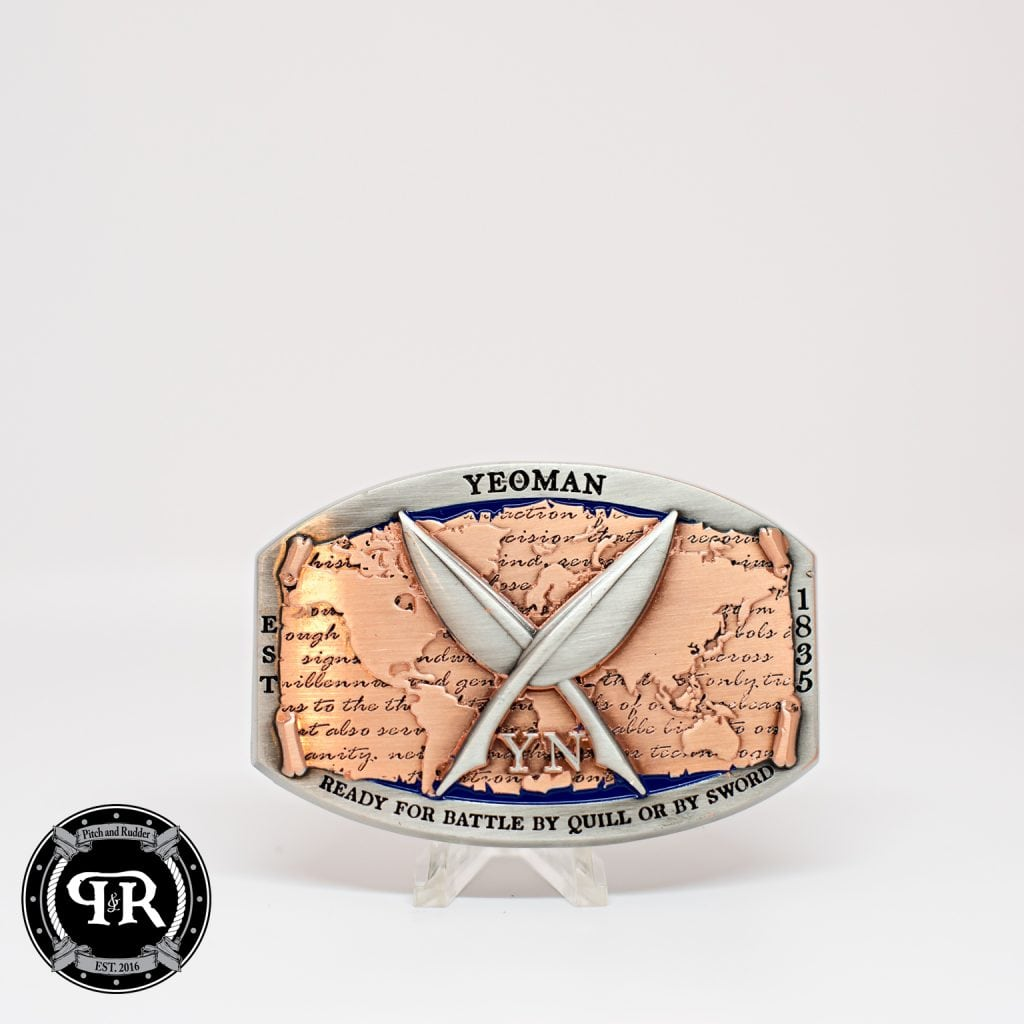 Custom YN Navy Uniform Belt Belt Buckle // Custom YN belt buckle design your own challenge coin, how to design a challenge coin, design a challenge coin, online challenge coin makers, challenge coin designers